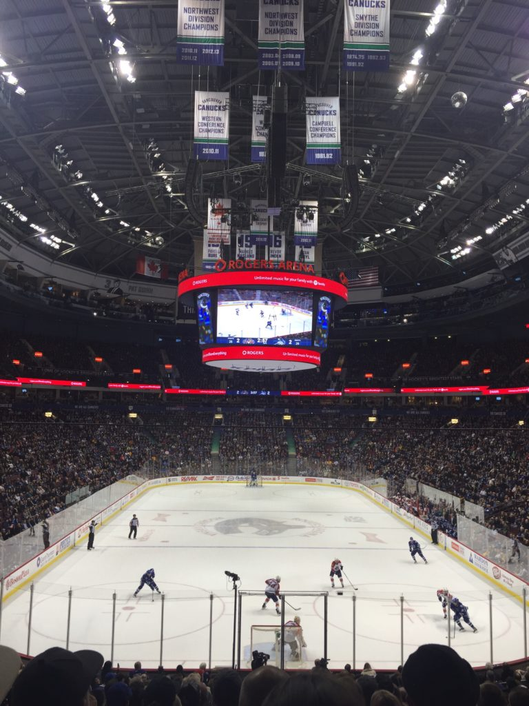 Canucks playing in the Rogers Arena in Vancouver