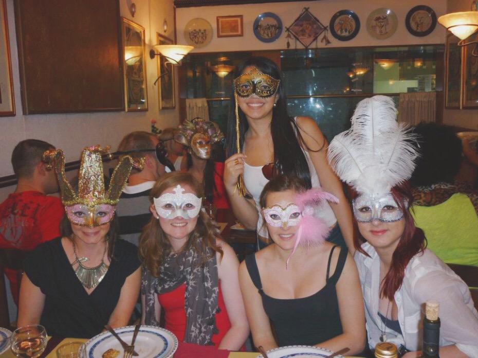 Contiki Mask Dinner in Venice Italy